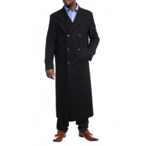 Mens Black Diamond Solid Black Wool Double Breasted Trench Coat