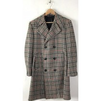 Mens Plaid Overcoat - Plaid Topcoat Black