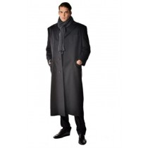 Men's Long Men's Dress Topcoat - Black Winter Coat - Overcoat