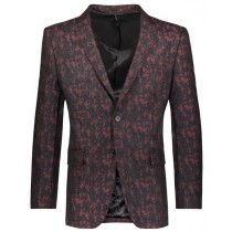 Mens Floral Pattern Slim Fit Two Button Burgundy Blazer