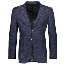 Mens Floral Pattern Slim Fit Two Button Navy Blazer