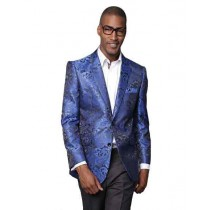 Floral Pattern Royal Blue Alberto Nardoni Jacket