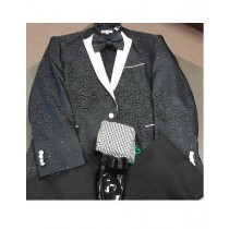 Flower Printed Notch Collared 1 Chest Pocket Cuff Link Black Western Blazer For Men