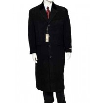 Black Velvet Notch Collar Wool/Cashmere Four Button Overcoat - Mens Cashmere Overcoat