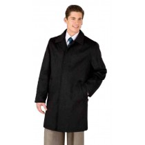 Mens Black Four Button 3/4 Length in Wool & Cashmere Car Coat