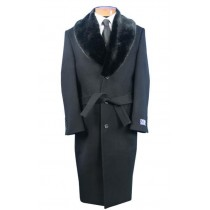 Blu Martini Grey Belted Full Length Wool mens fur collar overcoat