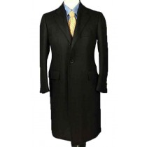 Luxurious Full-Length Black Cashmere and Wool Blend Overcoat