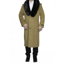 Mens Removable Fur Collar Full Length Wool Camel Dress Top Coat / Overcoat