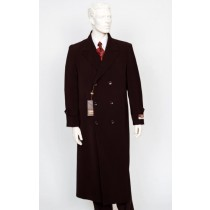 Full Length Duster Maxi Mens Brown Two Patch Pockets Six Buttons Coat