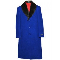 Men's Fur Collar Royal Blue 3 Button Single Breasted Wool Full Length Overcoat