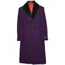 Men's Fur Collar Dark Purple 3 Button Single Breasted Wool Full Length Overcoat