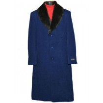 Men's Fur Collar Navy Blue 3 Button Single Breasted Wool Full Length Overcoat