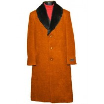 Men's Fur Collar Rust 3 Button Single Breasted Wool Full Length Overcoat
