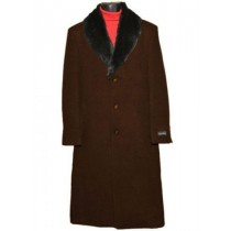 Men's Fur Collar Dark Brown 3 Button Single Breasted Wool Full Length Overcoat