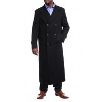 Fur Collars Mens Overcoat - Peacoat Wool and Cashmere Black By Alberto Nardoni