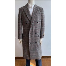 Mens Plaid Overcoat -  Gray Plaid Topcoat