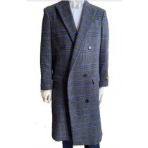 Glain Plaid - Windowpane - Double Breasted Mens Overcoat
