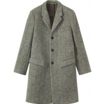 mens tweed topcoat Herringbone 65% Wool full length Gray ~ Grey Overcoat