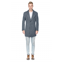 Herringbone Three Quarter Overcoat - Tweed Fabric Carcoat - Wool Coat