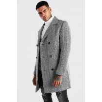 Herringbone Three Quarter Overcoat - Tweed Fabric darkgray - Wool Coat
