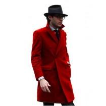 Mens Knee Length Pea coat Hot Red Mens Peacoat