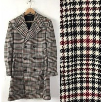 Mens  Red Overcoat Trench coat - Houndstooth Six Button