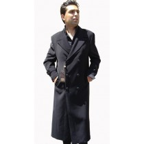 Full Length Overcoat Double Breasted Black Top Coat