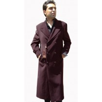Double Breasted Brown Top Coat Full Length Overcoat