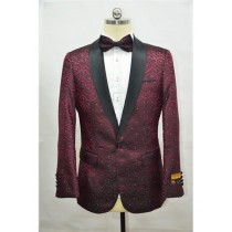Burgundy ~ Maroon And Black Two Toned Paisley Floral Blazer