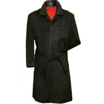 Single Breasted Hidden Button One Chest Pocket Full Length Black Top Coat