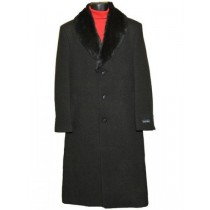Men's Fur Collar Black 3 Button Single Breasted Wool Full Length Overcoat