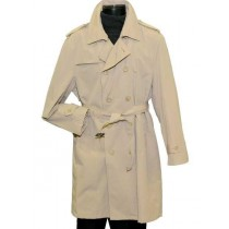 Double Breasted 4 Buttons Beige Adjustable Belt Notch Trench Coat