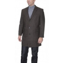 Herringbone 3/4 Top Brown Wool Blend Coat with Ticket Pocket