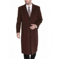 Cashmere Dress Coat Full Length 4 Button Solid Wool Dark Brown Overcoat
