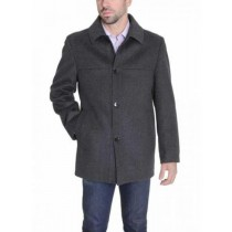 Single Breasted Modern Fit Solid Charcoal Gray Wool Cashmere Coat