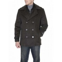 Double Breasted Brown Single Vent Herringbone Peacoat