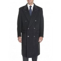 Double Breasted Full Length Wool charcoal pea coat mens Grey