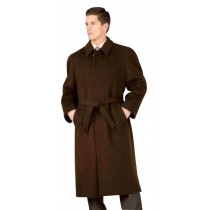 Mens Four Button belted Wool Single Breasted Overcoat
