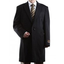 Notch Lapel 2 Buttons Luxury Length Wool/Cashmere Black Topcoat