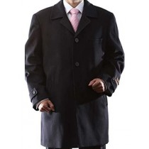 Black Luxury Wool/Cashmere Topcoat 3 quarter Length Notch Lapel