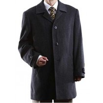 Full Sleeve Wool 3 Buttons Charcoal Notch Lapel Overcoat