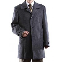 Gray Notch Lapel Three Buttons Luxury Wool - Cashmere Topcoat - Mens Cashmere Overcoat - Cashmere Coat