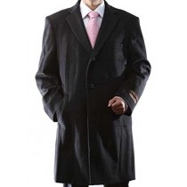 Length Charcoal Luxury Wool/Cashmere 3 Buttons Notch Lapel Topcoat