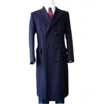Alberto Nardoni Navy Blue Solid Pattern wool Overcoat