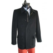Single Breasted Cashmere Wool With Zipper Closure Winter Black Coat