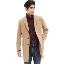Single Breasted Camel Wool Blend Five Button Cashmere Overcoat
