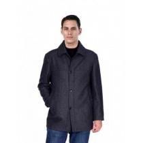 Mens Black Wool Pea Coat Three Buttons Full Sleeves Outerwear