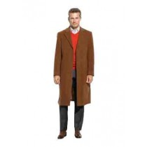Cashmere 48 Inch Long Overcoat & Dark Camel Color - Vicuna Coat ~ Mens Topcoat