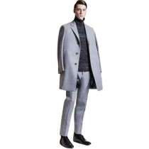 Single Breasted 3 Buttons Notch Lapel Casual Grey Cashmere Overcoat