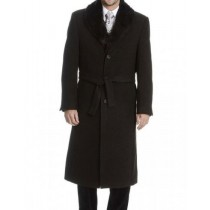 Single Breasted mens black faux fur coat Collar 3 Buttons Belted Style Overcoat